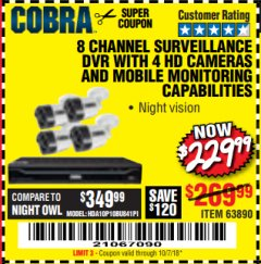 Harbor Freight Coupon 8 CHANNEL SURVEILLANCE DVR WITH 4 HD CAMERAS AND MOBILE MONITORING CAPABILITIES Lot No. 63890 Expired: 10/8/18 - $229.99