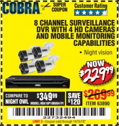 Harbor Freight Coupon 8 CHANNEL SURVEILLANCE DVR WITH 4 HD CAMERAS AND MOBILE MONITORING CAPABILITIES Lot No. 63890 Expired: 10/15/18 - $229.99