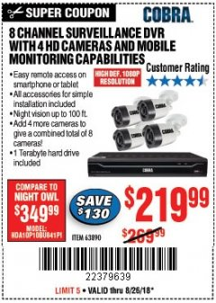 Harbor Freight Coupon 8 CHANNEL SURVEILLANCE DVR WITH 4 HD CAMERAS AND MOBILE MONITORING CAPABILITIES Lot No. 63890 Expired: 8/26/18 - $219.99