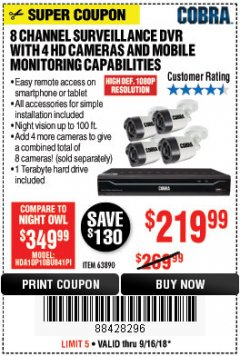 Harbor Freight Coupon 8 CHANNEL SURVEILLANCE DVR WITH 4 HD CAMERAS AND MOBILE MONITORING CAPABILITIES Lot No. 63890 Expired: 9/16/18 - $219.99
