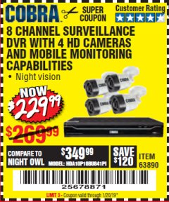 Harbor Freight Coupon 8 CHANNEL SURVEILLANCE DVR WITH 4 HD CAMERAS AND MOBILE MONITORING CAPABILITIES Lot No. 63890 Expired: 1/20/19 - $229.99