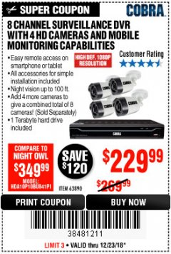 Harbor Freight Coupon 8 CHANNEL SURVEILLANCE DVR WITH 4 HD CAMERAS AND MOBILE MONITORING CAPABILITIES Lot No. 63890 Expired: 12/23/18 - $229.99