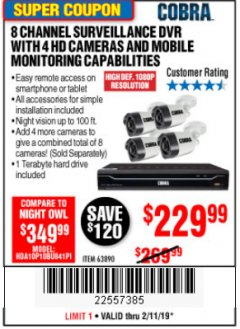 Harbor Freight Coupon 8 CHANNEL SURVEILLANCE DVR WITH 4 HD CAMERAS AND MOBILE MONITORING CAPABILITIES Lot No. 63890 Expired: 2/11/19 - $229.99