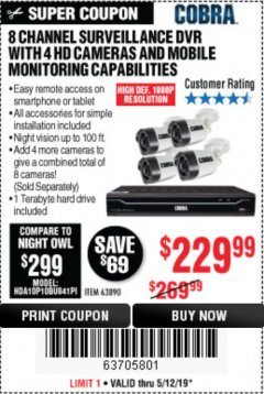 Harbor Freight Coupon 8 CHANNEL SURVEILLANCE DVR WITH 4 HD CAMERAS AND MOBILE MONITORING CAPABILITIES Lot No. 63890 Expired: 5/12/19 - $229.99