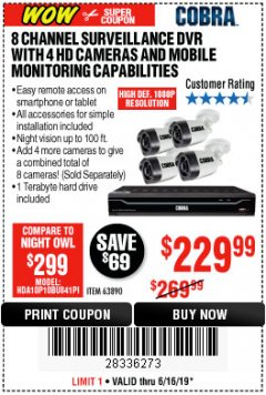 Harbor Freight Coupon 8 CHANNEL SURVEILLANCE DVR WITH 4 HD CAMERAS AND MOBILE MONITORING CAPABILITIES Lot No. 63890 Expired: 6/16/19 - $229.99