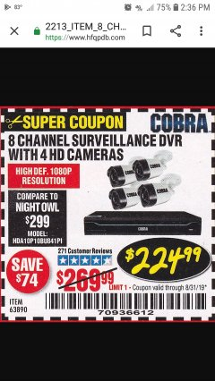 Harbor Freight Coupon 8 CHANNEL SURVEILLANCE DVR WITH 4 HD CAMERAS AND MOBILE MONITORING CAPABILITIES Lot No. 63890 Expired: 8/31/19 - $224.99