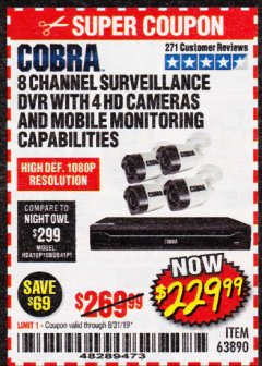 Harbor Freight Coupon 8 CHANNEL SURVEILLANCE DVR WITH 4 HD CAMERAS AND MOBILE MONITORING CAPABILITIES Lot No. 63890 Expired: 8/31/19 - $229.99