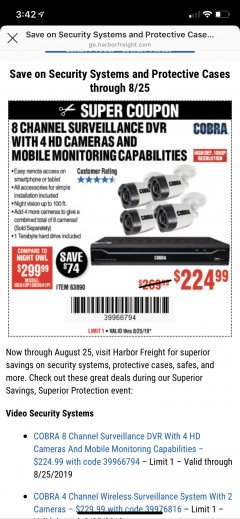Harbor Freight Coupon 8 CHANNEL SURVEILLANCE DVR WITH 4 HD CAMERAS AND MOBILE MONITORING CAPABILITIES Lot No. 63890 Expired: 8/25/19 - $224.99
