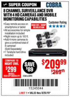 Harbor Freight Coupon 8 CHANNEL SURVEILLANCE DVR WITH 4 HD CAMERAS AND MOBILE MONITORING CAPABILITIES Lot No. 63890 Expired: 8/25/19 - $209.99