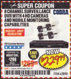 Harbor Freight Coupon 8 CHANNEL SURVEILLANCE DVR WITH 4 HD CAMERAS AND MOBILE MONITORING CAPABILITIES Lot No. 63890 Expired: 10/31/19 - $229.99