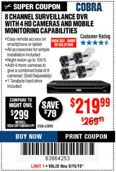 Harbor Freight Coupon 8 CHANNEL SURVEILLANCE DVR WITH 4 HD CAMERAS AND MOBILE MONITORING CAPABILITIES Lot No. 63890 Expired: 9/15/19 - $219.99