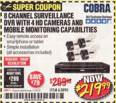 Harbor Freight Coupon 8 CHANNEL SURVEILLANCE DVR WITH 4 HD CAMERAS AND MOBILE MONITORING CAPABILITIES Lot No. 63890 Expired: 11/30/19 - $219.99