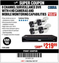 Harbor Freight Coupon 8 CHANNEL SURVEILLANCE DVR WITH 4 HD CAMERAS AND MOBILE MONITORING CAPABILITIES Lot No. 63890 Expired: 10/27/19 - $219.99