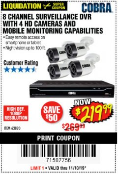 Harbor Freight Coupon 8 CHANNEL SURVEILLANCE DVR WITH 4 HD CAMERAS AND MOBILE MONITORING CAPABILITIES Lot No. 63890 Expired: 11/10/19 - $219.99