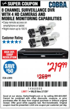 Harbor Freight Coupon 8 CHANNEL SURVEILLANCE DVR WITH 4 HD CAMERAS AND MOBILE MONITORING CAPABILITIES Lot No. 63890 Expired: 2/7/20 - $219.99