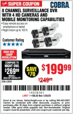Harbor Freight Coupon 8 CHANNEL SURVEILLANCE DVR WITH 4 HD CAMERAS AND MOBILE MONITORING CAPABILITIES Lot No. 63890 Expired: 1/26/20 - $199.99