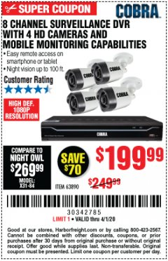 Harbor Freight Coupon 8 CHANNEL SURVEILLANCE DVR WITH 4 HD CAMERAS AND MOBILE MONITORING CAPABILITIES Lot No. 63890 Valid Thru: 4/1/20 - $199.99
