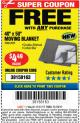 "Harbor Freight FREE Coupon 40"" X 50"" MOVING BLANKET Lot No. 63959 Expired: 11/19/17 - FWP"