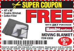 "Harbor Freight FREE Coupon 40"" X 50"" MOVING BLANKET Lot No. 63959 Expired: 12/26/18 - FWP"