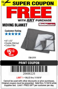 "Harbor Freight FREE Coupon 40"" X 50"" MOVING BLANKET Lot No. 63959 Expired: 11/18/18 - FWP"