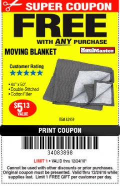 "Harbor Freight FREE Coupon 40"" X 50"" MOVING BLANKET Lot No. 63959 Expired: 12/24/18 - FWP"