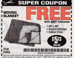 "Harbor Freight FREE Coupon 40"" X 50"" MOVING BLANKET Lot No. 63959 Expired: 7/24/19 - FWP"