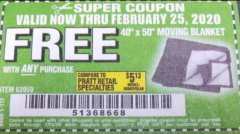"Harbor Freight FREE Coupon 40"" X 50"" MOVING BLANKET Lot No. 63959 Expired: 2/26/20 - FWP"