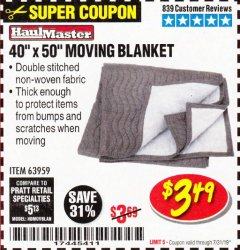 "Harbor Freight Coupon 40"" X 50"" MOVING BLANKET Lot No. 63959 Expired: 7/31/19 - $3.49"