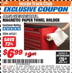 Harbor Freight ITC Coupon MAGNETIC PAPER TOWEL HOLDER Lot No. 69321 Expired: 11/30/18 - $6.99