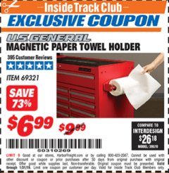 Harbor Freight ITC Coupon MAGNETIC PAPER TOWEL HOLDER Lot No. 69321 Expired: 1/31/19 - $6.99