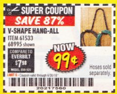 Harbor Freight Coupon V-SHAPE HANG-ALL Lot No. 38442/61430/61533/68995 Expired: 6/30/18 - $0.99