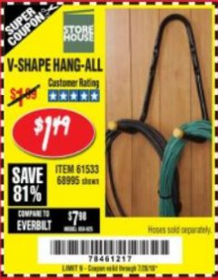 Harbor Freight Coupon V-SHAPE HANG-ALL Lot No. 38442/61430/61533/68995 Expired: 7/28/18 - $1.49