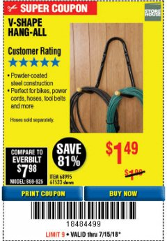 Harbor Freight Coupon V-SHAPE HANG-ALL Lot No. 38442/61430/61533/68995 Expired: 7/15/18 - $1.49