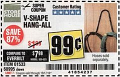 Harbor Freight Coupon V-SHAPE HANG-ALL Lot No. 38442/61430/61533/68995 Expired: 10/17/18 - $0.99
