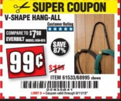 Harbor Freight Coupon V-SHAPE HANG-ALL Lot No. 38442/61430/61533/68995 Expired: 9/11/18 - $0.99