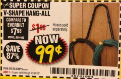 Harbor Freight Coupon V-SHAPE HANG-ALL Lot No. 38442/61430/61533/68995 Expired: 10/31/18 - $0.99