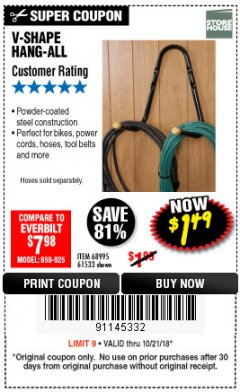 Harbor Freight Coupon V-SHAPE HANG-ALL Lot No. 38442/61430/61533/68995 Expired: 10/21/18 - $1.49