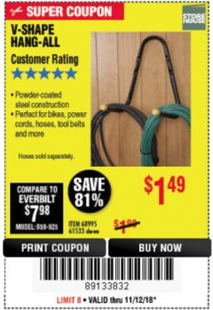 Harbor Freight Coupon V-SHAPE HANG-ALL Lot No. 38442/61430/61533/68995 Expired: 11/18/18 - $1.49