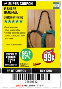 Harbor Freight Coupon V-SHAPE HANG-ALL Lot No. 38442/61430/61533/68995 Expired: 11/18/18 - $0.99
