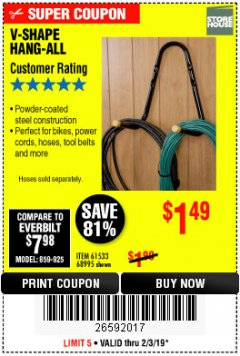 Harbor Freight Coupon V-SHAPE HANG-ALL Lot No. 38442/61430/61533/68995 Expired: 2/3/19 - $1.49