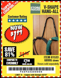 Harbor Freight Coupon V-SHAPE HANG-ALL Lot No. 38442/61430/61533/68995 Expired: 4/5/19 - $1.49
