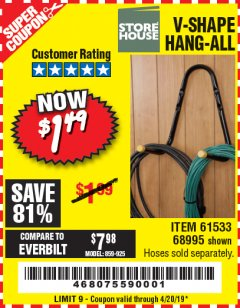 Harbor Freight Coupon V-SHAPE HANG-ALL Lot No. 38442/61430/61533/68995 Expired: 4/20/19 - $1.49