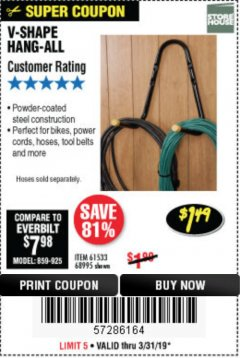 Harbor Freight Coupon V-SHAPE HANG-ALL Lot No. 38442/61430/61533/68995 Expired: 3/31/19 - $1.49