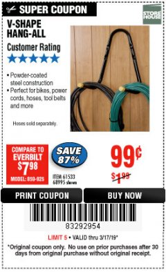Harbor Freight Coupon V-SHAPE HANG-ALL Lot No. 38442/61430/61533/68995 Expired: 3/17/19 - $0.99