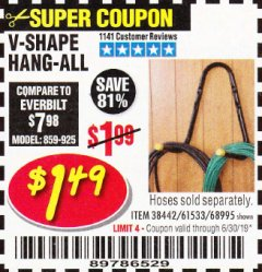 Harbor Freight Coupon V-SHAPE HANG-ALL Lot No. 38442/61430/61533/68995 Expired: 6/30/19 - $1.5