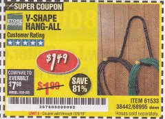 Harbor Freight Coupon V-SHAPE HANG-ALL Lot No. 38442/61430/61533/68995 Expired: 10/9/19 - $1.5