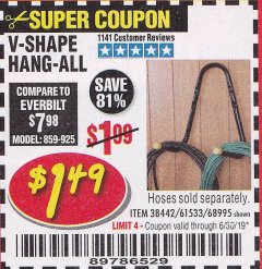 Harbor Freight Coupon V-SHAPE HANG-ALL Lot No. 38442/61430/61533/68995 Expired: 6/30/19 - $1.49