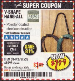 Harbor Freight Coupon V-SHAPE HANG-ALL Lot No. 38442/61430/61533/68995 Expired: 10/31/19 - $1.49