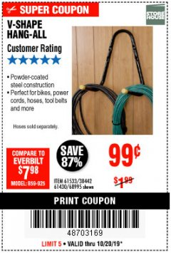 Harbor Freight Coupon V-SHAPE HANG-ALL Lot No. 38442/61430/61533/68995 Expired: 10/20/19 - $0.99