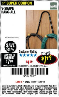 Harbor Freight Coupon V-SHAPE HANG-ALL Lot No. 38442/61430/61533/68995 Expired: 11/30/19 - $1.49